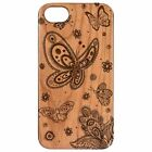 Natural Luxury Wood Phone Cherry&PC Case Cover For iPhone-Galaxy-BUTTERFLIES
