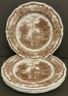 4 VINTAGE J&G MEAKIN ENGLAND STYLE HOUSE BROWN AMERICANA DINNER PLATE IRONSTONE
