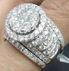 Deal 5.00CT Genuine Cluster Diamond Engagement Bridal Halo Ring 2 Band 14K Gold