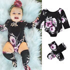 US STOCK Cute Newborn Baby Girls Tops Romper Floral Outfits Set Clothes +Socks