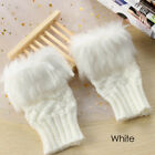 Warm Wrist Gloves Exposed Finger Faux Rabbit Fur Couples Fingerless Mittens