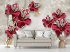 3D Beautiful Jewelry Flowers Wall Murals Painting Wallpaper Photo Home Decor