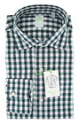 $375 Finamore Napoli Green Check Cotton Shirt - Extra Slim - (IT)