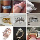 Wedding Gifts Oval Cut White Topaz Gemstone Silver Ring Size 6 7 8 9 10 11 12 13 image