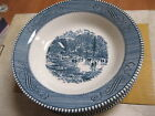 Lot of 6 Currier & Ives Early Winter Blue & White Rimmed Soup Bowls 8 3/8 inch