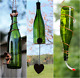 Green and Copper Bird Feeder and Wind Chime Set - Gift for Mom - Deck Decor photo