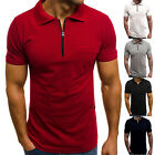 Men's Slim Muscle Short Sleeve Zipper Sport Gym Fitness Tops Polo Shirt Tee image