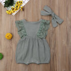 Newborn Baby Girls Clothes Ruffle Sleeve Romper Bodysuit 2PCS Solid Outfits Set