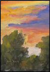 19 Year Old Emerging Artist JOEL Love Art Original Oil Painting Bright Sunset