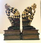 """Jester Bookends Harlequin Heavy Resin 8 1/4"""" Tall"""