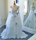 Celtic White Pale Blue Wedding Dress Medieval Bridal Gowns Corset Bell Sleeve