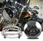 """7"""" LED Projector Round Headlight + Mounting Ring For Harely Davidson Touring"""