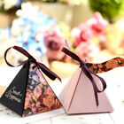 Triangle Candy Box Pyramid Ribbon Gift Box Wedding Party Favours Supplies