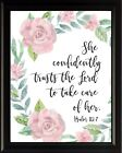 Psalm 112:7 She Confidently Poster Print Picture or Framed Wall Art