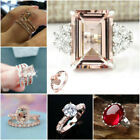 3Pcs/Set 18K Rose Gold Morganite Gemstone Ring Women Wedding New Jewelry Sz5-11 image