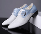 Mens Canvas Casual Dress British Pointed Toe Oxfords Breathable Business Shoes