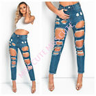WOMEN'S LADIES DENIM BLUE SLIM FIT FRAYED DISTRESSED LARGE RIPPED SKINNY JEANS