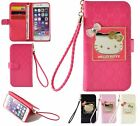 Hello Kitty Wallet Case W Straps Card Slot For iPhone 7/7+/iPhone X Samsung S8