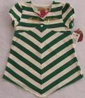 NWT Apple Bottoms GirlsOff White & Green Striped Blouse 2T 4T NEW