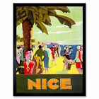 Travel Nice France Riviera Beach Sea Palm Tree People 12X16 Inch Framed Print
