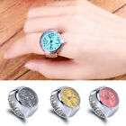 Unisex Finger Rings Watch Steel Tone Round Dial Elastic Ring Watches Jewellery image