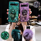 For Samsung Galaxy S10 Plus S9 Plus S8 Bling Crystal Stand Case Hair Ball Cover $9.99 USD on eBay
