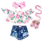 Внешний вид - Toddler Kid Baby Girl Clothes Off Shoulder Flower Tops Ripped Shorts Outfits