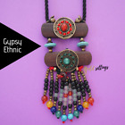 Tibetan Stone Beaded Beads Ethnic Retro Wood Long Necklace For Women Boho Gypsy