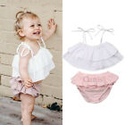 Nweborn Baby Girl Infant Clothes Ruffles Strap Tops Shorts 2PCS Outfits Sunsuit