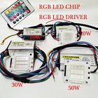 LED Diode RGB Chip+Driver+Remote High Power Bulb Dimmer 10W~50W 24 Key COB Lot