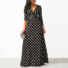 Ladies Retro Vintage Long Sleeve Polka Dot Womens Party Cocktail Maxi Dress USA