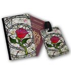 Stained Glass Enchanted Rose Beauty Beast Travel Protection Flip Cover Case