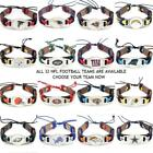 Sports NFL Football Team Adjustable Leather Bracelet - CHOOSE Your Team! on eBay