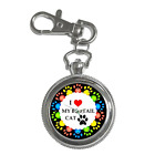 I LOVE MY CAT **CHOOSE YOUR CAT BREED** CAT LOVER'S KEYCHAIN WATCH - SUPER ITEM