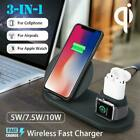 Qi Wireless Charger 3in1 Dock Charging Station For iPhone 8 X iWatch 2/3 Airpods