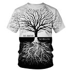 T Shirt Men Women Black White Tree 3D Print Tee Short Sleeve Hipster Casual Tops image