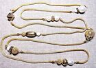 VINTAGE STUNNING GOLD TONE FAUX PEARL SUPER DUPER LONG NECKLACE