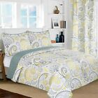 All American Collection Yellow/Grey Paisley Printed Reversible Bedspread/Quilt