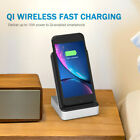 Qi Vertical Wireless Charger Dual Coils Dual USB Fast Charging for iPhone X