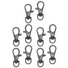 10pc Alloy Swivel Clasp Lanyard Snap Hook Lobster Claw Clasps with Key Ring