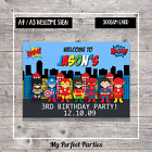 A4 A3 PERSONALISED Boy Superhero Birthday Party Welcome Sign 3