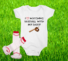 Baseball Onesie Bodysuit And Ruffle Leggings Set Love Watching WIth Daddy