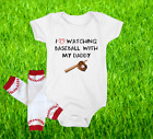 Baseball Onesie Bodysuit And Leggings Set Love Watching WIth Daddy