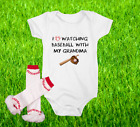 Baseball Onesie Bodysuit And Ruffle Leggings Set Love Watching WIth Grandma