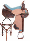Western Barrel Saddle 15 16 Pleasure Trail Show Blue Horse Leather Tack Set
