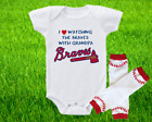 Atlanta Braves Outfit Onesie And Leggings Set Watching WIth Grandpa on Ebay