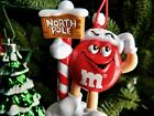 Christmas Ornament Red M&M Candy Guy! He holds North Pole Sign! Wears Santa Hat!