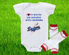 Los Angeles Dodgers Outfit Onesie And Leggings Set Watching WIth Grandma on Ebay