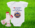 New York Mets Outfit Onesie And Ruffle Leggings Set Watching WIth Mommy on Ebay