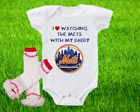 New York Mets Outfit Onesie And Ruffle Leggings Set Watching WIth Daddy on Ebay